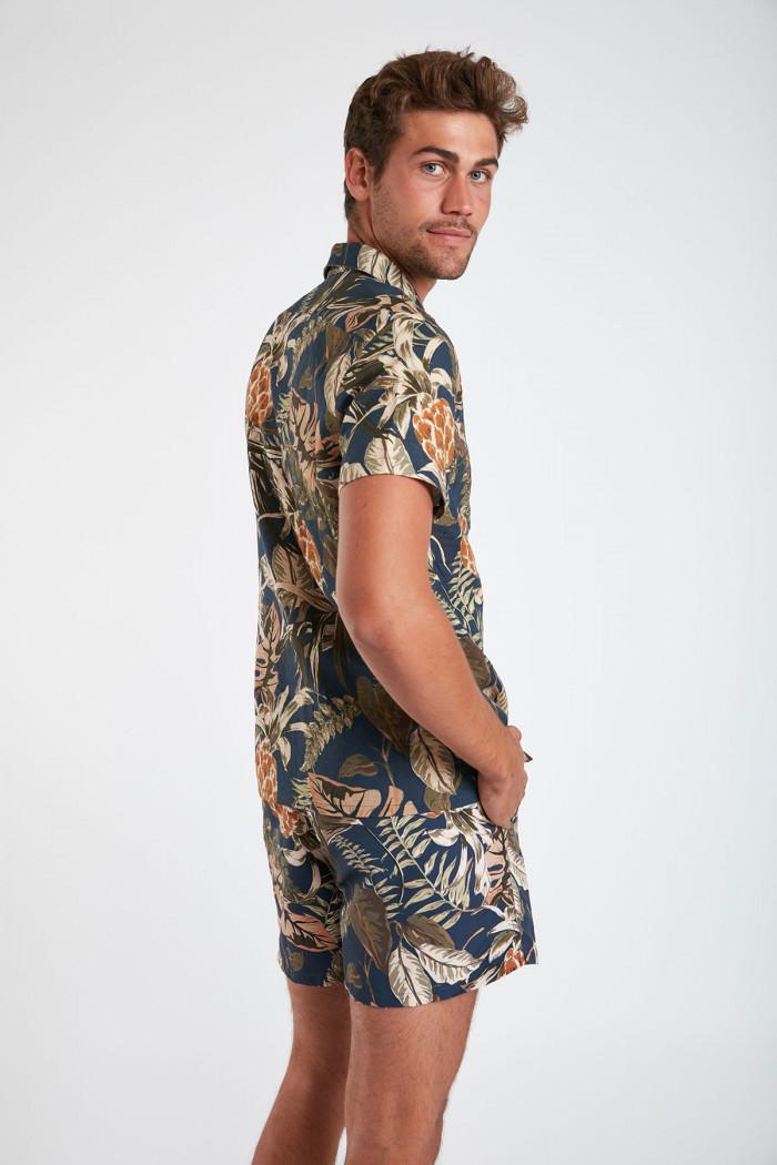 Chemise manches courtes bleu marine à fleurs STEFANO MAUI