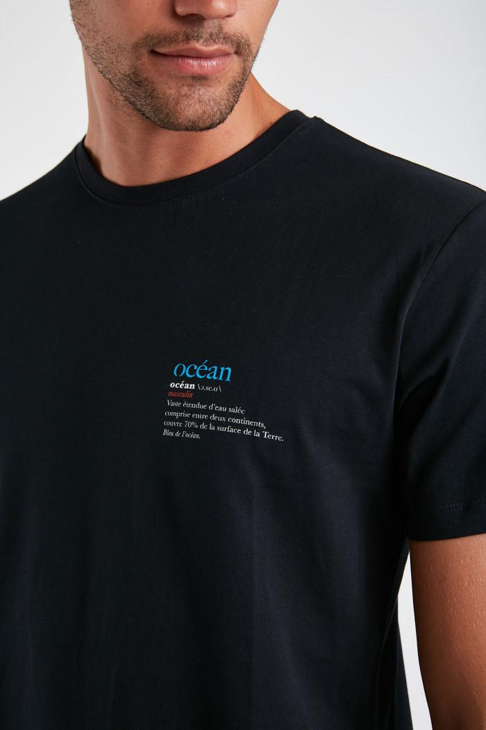 T-shirt bleu marine en coton Océan YANNOCEA DICTIO