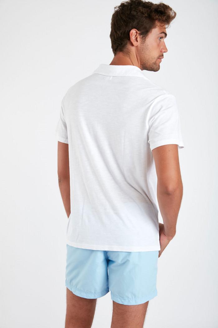 Polo manches courtes blanc avec poche ALBIN MIDI
