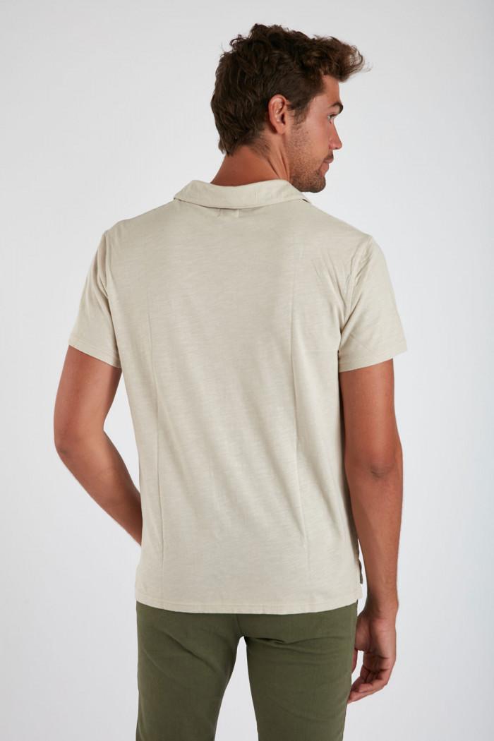 Polo manches courtes beige avec poche ALBIN MIDI