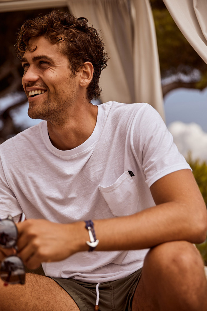 T-shirt manches courtes blanc avec poche CYRIL MIDI