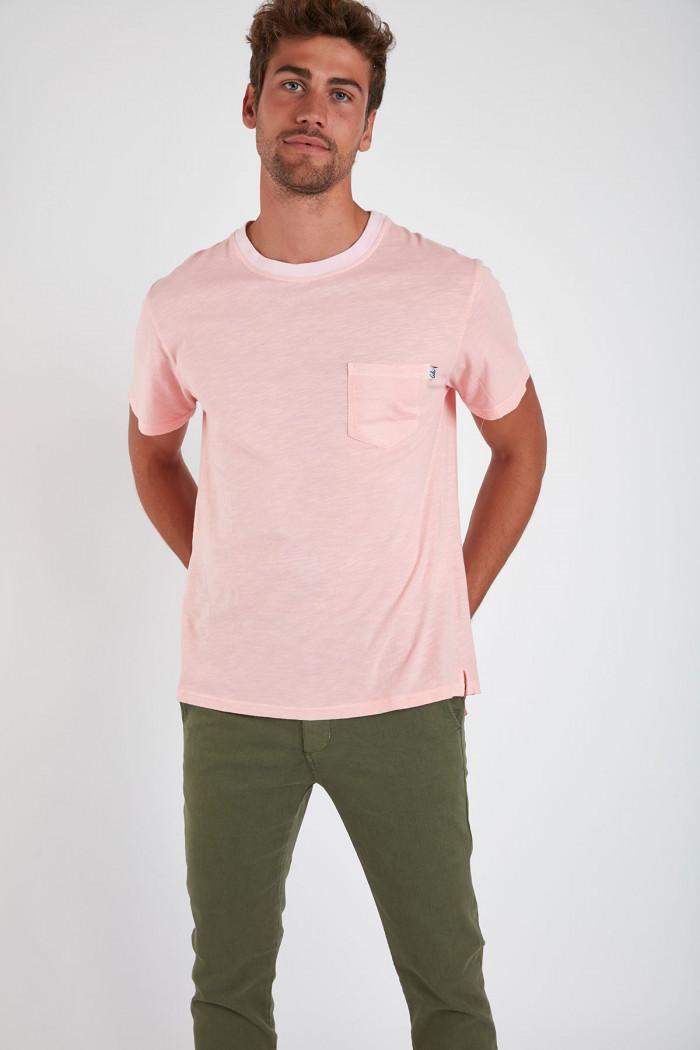 T-shirt manches courtes rose avec poche CYRIL MIDI