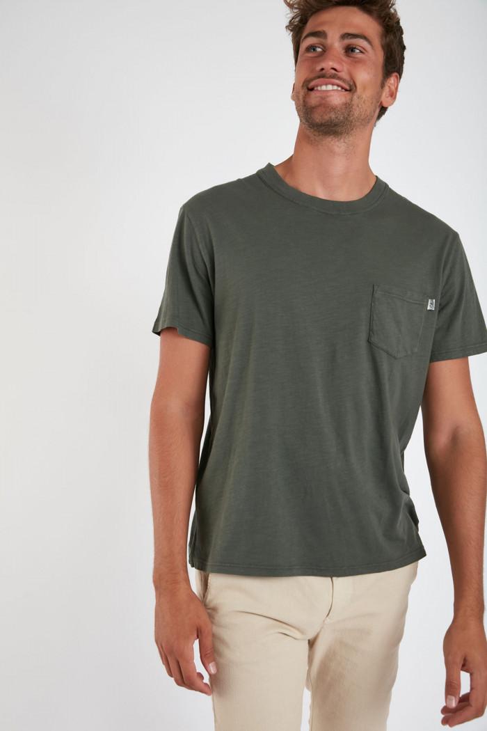 T-shirt manches courtes kaki avec poche CYRIL MIDI