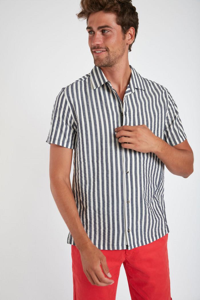Chemise manches courtes marine à rayures STEFANO BUDELLO