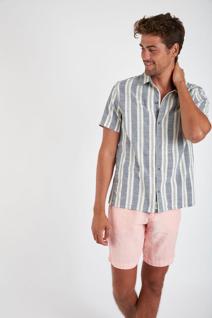Chemise manches courtes bleu à rayures STEFANO CAMAGLIA