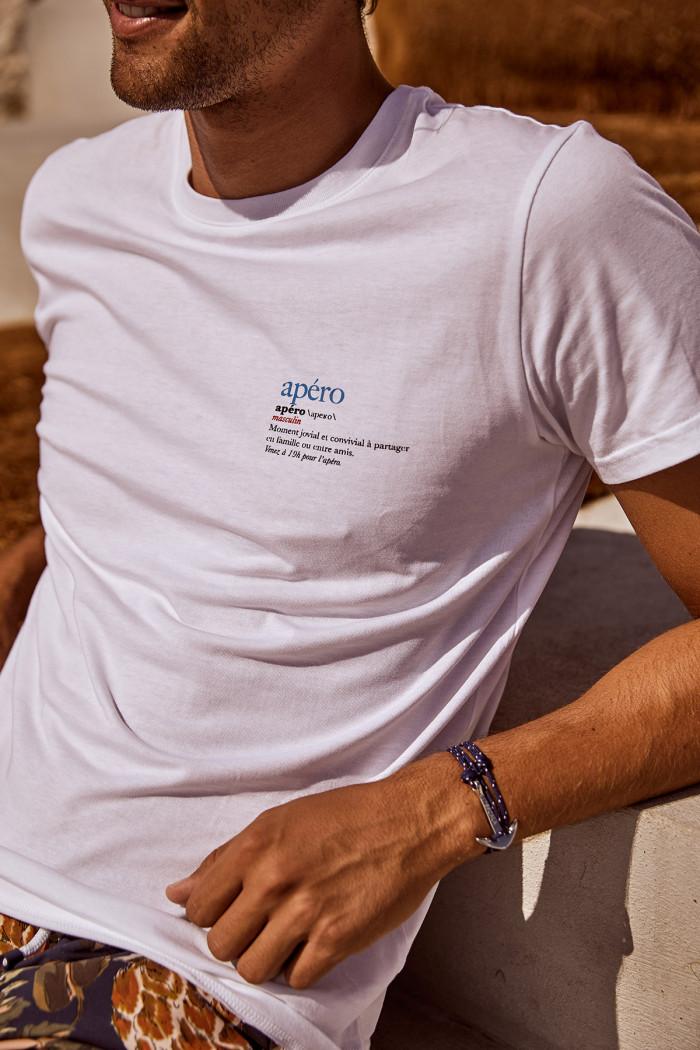 T-shirt blanc en coton Apéro YANNAPE DICTIO