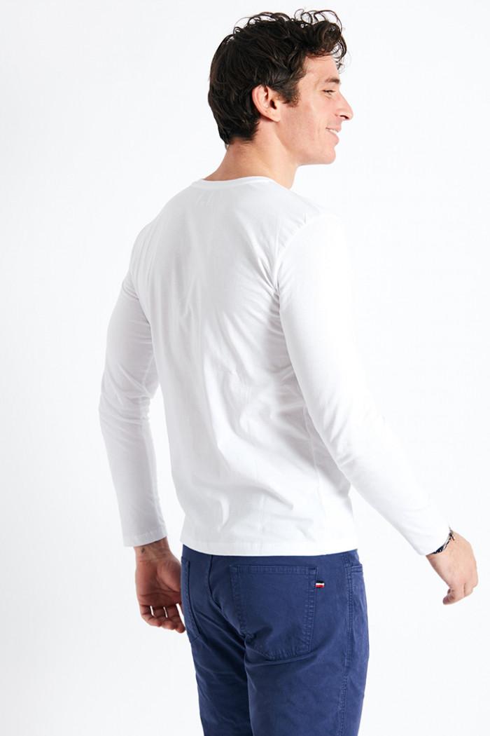 T-shirt manches longues blanc écusson silicone TSML UNI