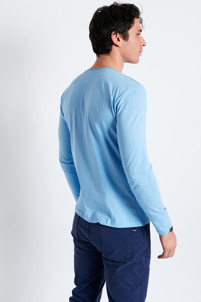 T-shirt manches longues bleu ciel écusson silicone TSML UNI