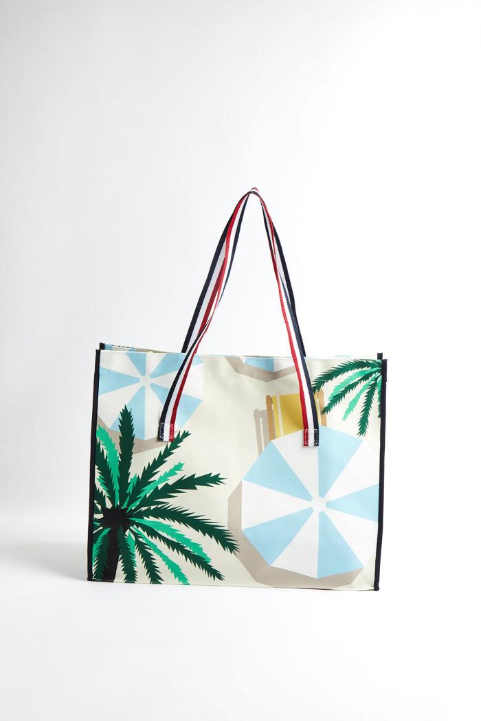 Cabas de plage motif parasol Ecru et Lagon CABAS PARASOL CALA