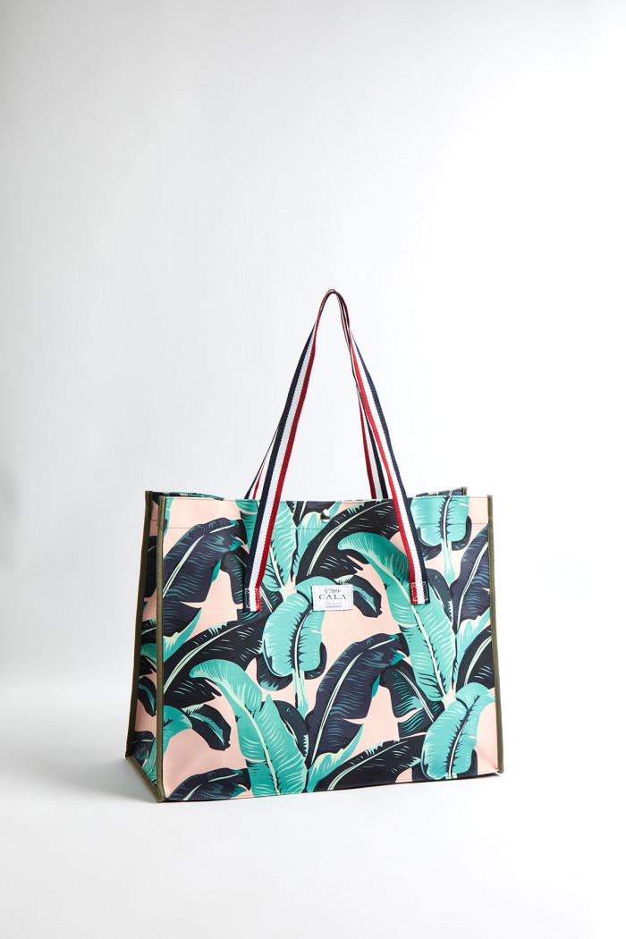 Cabas de plage motif tropical Malabar CABAS TROPIQUES