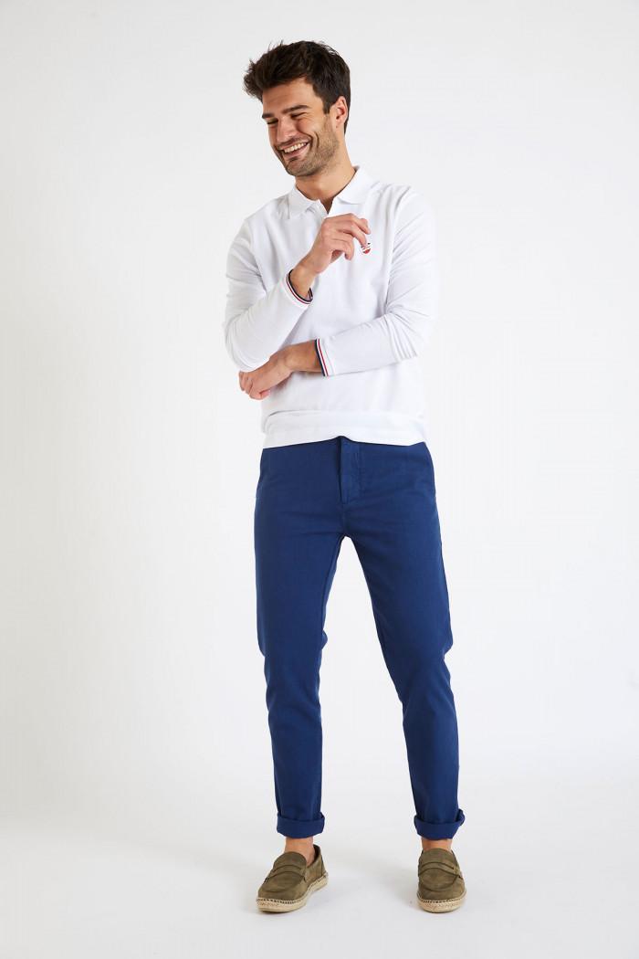Pantalon en coton marine CHINO UNI