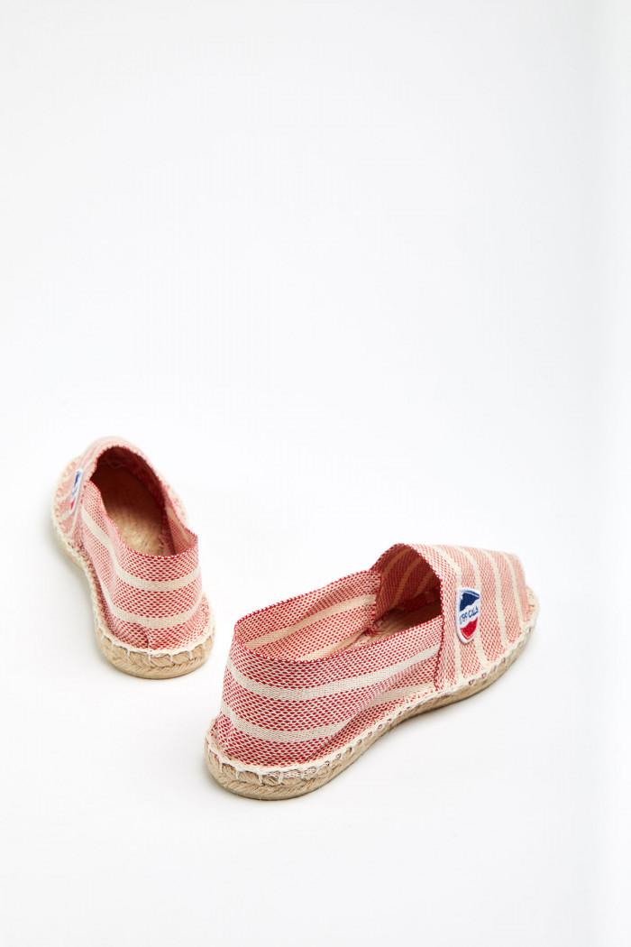 Espadrilles en toile Marinière Rouge et Ecru - Made in France CLASSIQUE MARINCALA