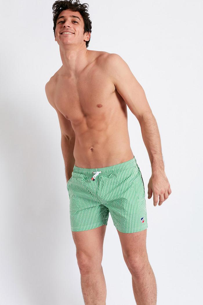 Short de Bain à Rayures - Vert et Blanc SWIMSHORT STRIPECALA