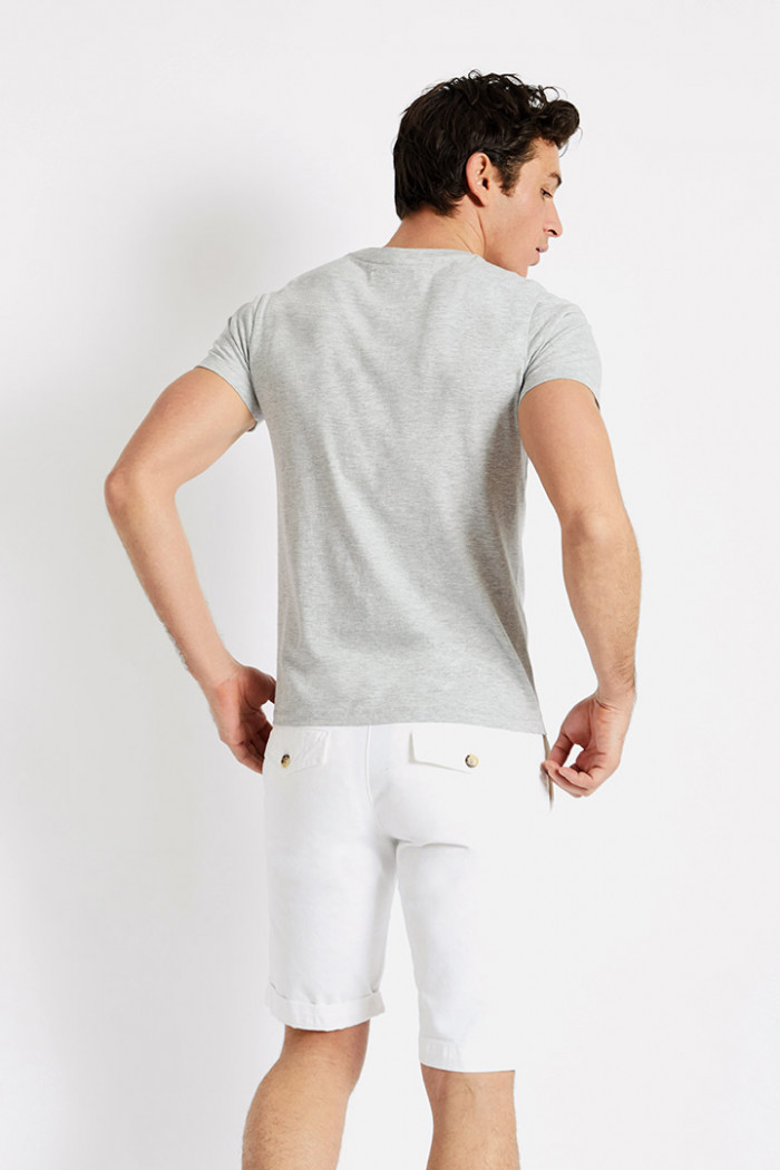 T-shirt manches courtes Gris Poche bordure Bleu Blanc Rouge TSMC CHINE