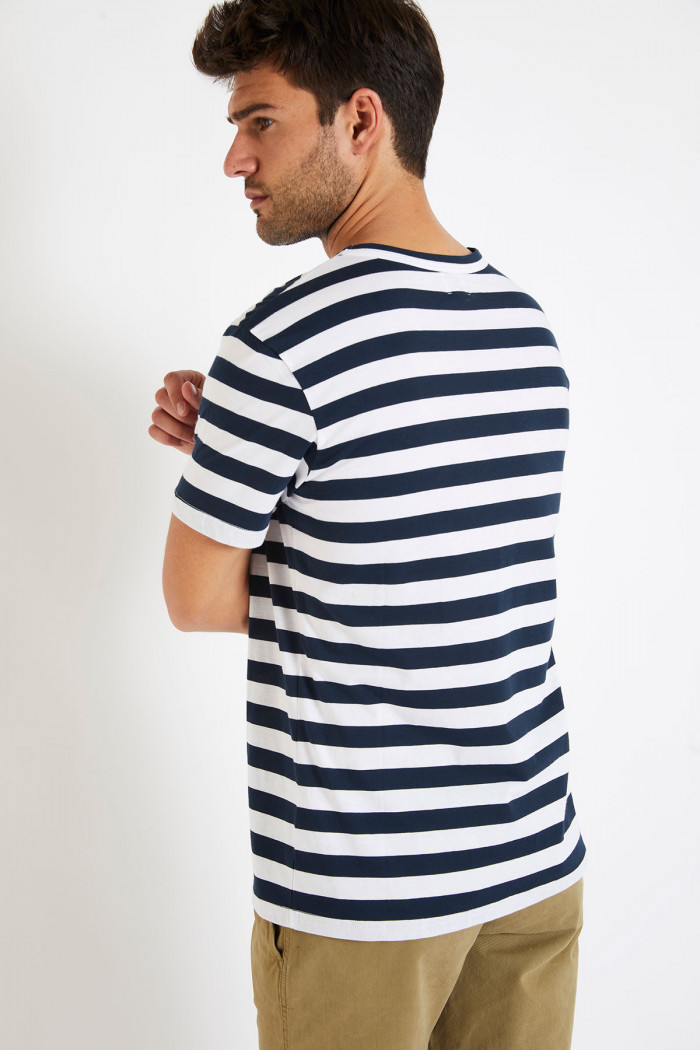 T-shirt manches courtes Marinière Marine écusson TSMC MARIN