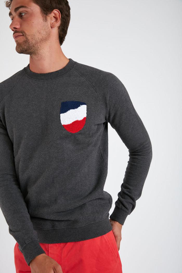 Sweatshirt gris anthracite en coton ALEX VADELLA