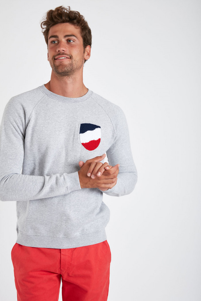Sweatshirt gris chiné en coton ALEX VADELLA