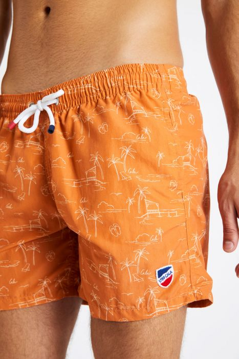Short de bain imprimé orange MANU MASCIOLA