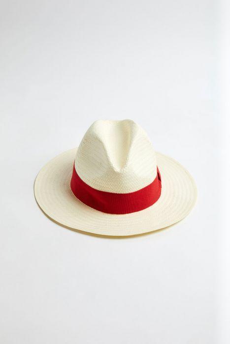 Chapeau de plage Panama Rouge PANAMA CHAPEAU