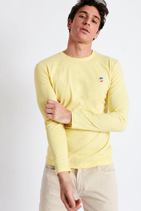 T-shirt manches longues jaune clair écusson silicone TSML UNI
