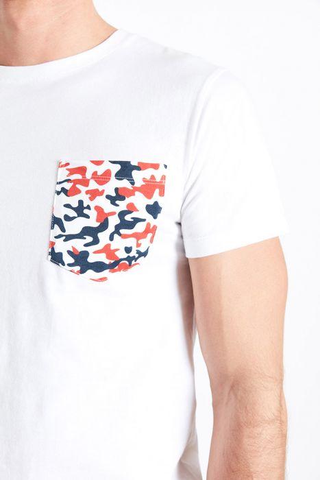 T-shirt manches courtes blanc Poche imprimé camouflage TSMC CAMO