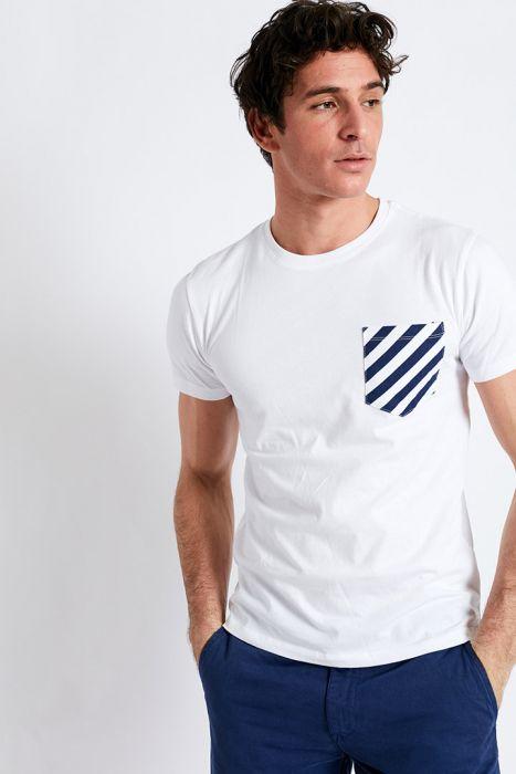 T-shirt manches courtes blanc Poche imprimé géo rayure graphique TSMC GEO