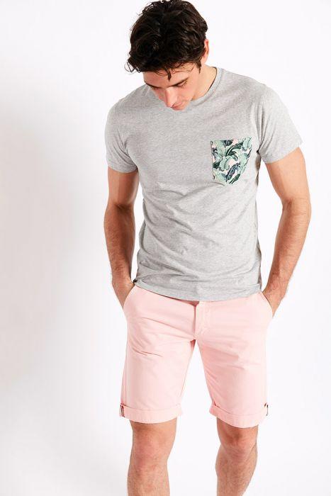T-shirt manches courtes gris Poche imprimé tropical TSMC TROPIQUES