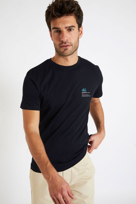 T-shirt bleu marine en coton - ski YANN ARENA