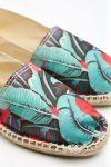 Espadrilles en toile imprimé tropical Ecru et Rouge - Made in France CLASSIQUE TROPIQUES