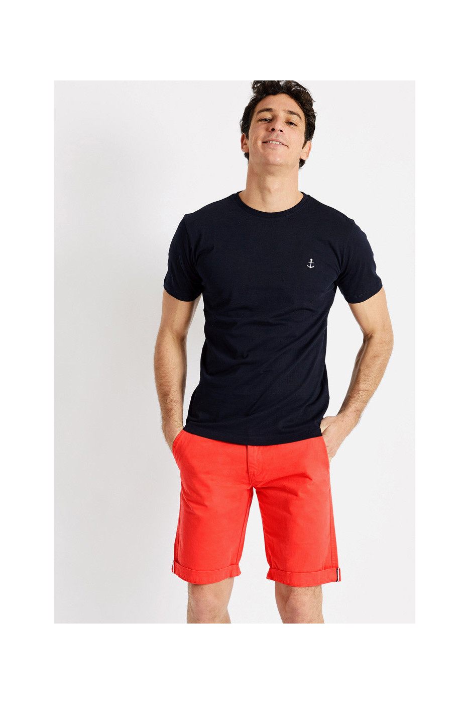 T-shirt manches courtes Marine Broderie Ancre